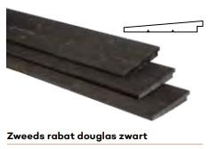 Rabat Zweeds 195 mm breed Douglas zwart (180 mm werkend) Niet alle maten beschikbaar, informeer eerst. -0