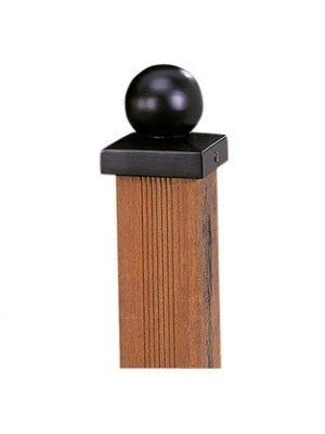 Paalornament metaal Bol ZWART 9 x 9 cm W19505-0