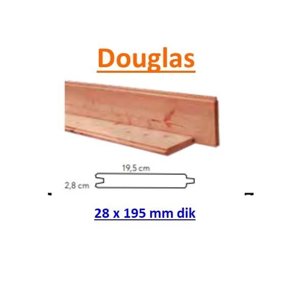 Blokhutprofiel Douglas 28 x 195 mm geschaafd blank met velling beperkt leverbaar, informeer eerst.-0