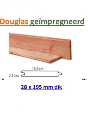Blokhutprofiel Douglas 28 x 195 mm geschaafd geïmpregneerd met vellin, beperkt leverbaar. informeer eerst. -0