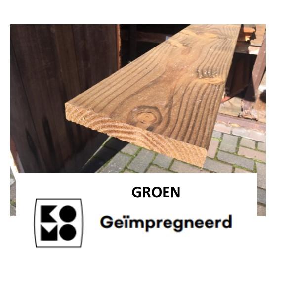 Plank Douglas 28 x 195 mm geschaafd / fijnbezaagd Geïmpregneerd Groen-0