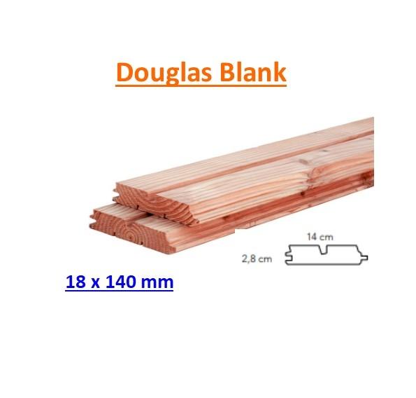 Rhombusprofiel Douglas 28 x 140 mm geschaafd dubbele groef BLANK-0