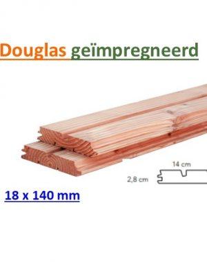 Rhombusprofiel Douglas 28 x 140 mm geschaafd dubbele groef geïmpregneerd-0