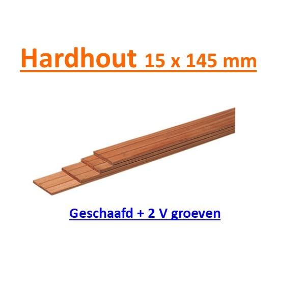 Schuttingplank Hardhout 15 x 145 mm -0