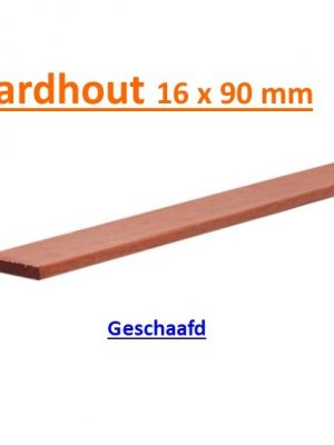 Plank Hardhout 16 x 90 mm geschaafd 180 cm wdv 14010-0