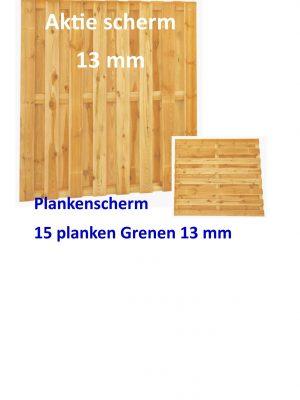 Plankenscherm Grenen recht 13 mm 180 x180 cm Aktie scherm-0