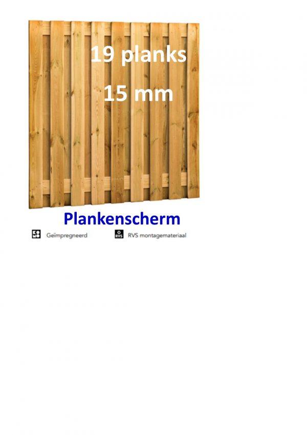 Plankenscherm Grenen Recht 15 mm 180 x 180 cm 19 PLANKS verticaal-0