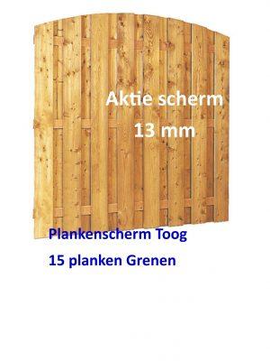 Plankenscherm Grenen Toog verticaal 13 mm 180 x 180 cm Aktie scherm-0